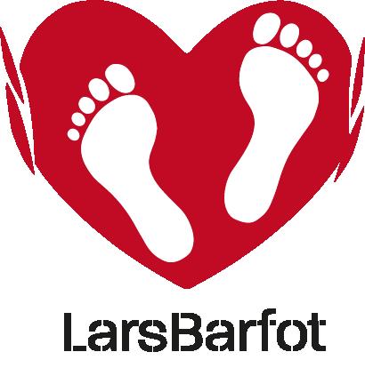 Logo Lars Barfot. Et hjerte med to føtter i.